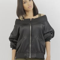LET IT BOMB SATIN JACKET - BLACK