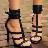 2020 new women's braided belt buckle stiletto heels shoes
