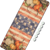 "Manual Woodworkers UPFT36 Fall Patriotic Pumpkin Farm 36"" Table Runner with 6-Pack Tea Candles"