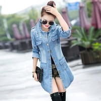 Trendy PEONFLY Fashion Vintage Women Trench Coat 2018 Spring Autumn Female Frayed Hole Long Denim Coats Plus Size Femme Jean Outerwear AT_94_13