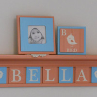 "Bird Decor, Bird Baby Nursery Decor, Baby Girl Nursery Name Sign - 7 Plaques on 30"" Coral Shelf Personalized - BELLA and Birds Aqua / Coral"