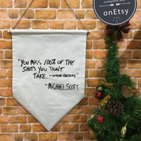 SALE !! The Office baner flag hanging wall banner flag, Michael Scott Quote, wall hanging decoration, The Office TV Show christmas gift