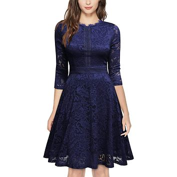 Retro Inspired Bell Sleeve Lace Cocktail Dress, US Sizes 0 - 20  (Navy Blue Dress)