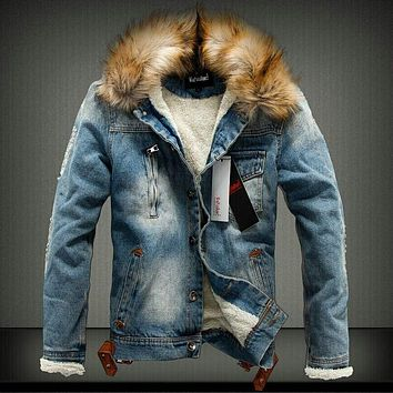 Thick Style Jeans Jacket and Fur Collar