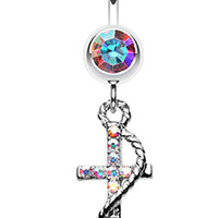 Glistening Glass-Gem Anchor Dock Belly Button Ring