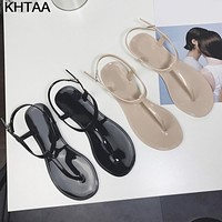 Women's T-Strap Flat Ankle Buckle Thong Sandals