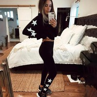 Set Long Sleeve Casual Hoodies Leggings Set [11843100559]