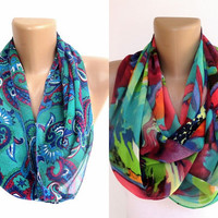 neon cowl scarfs, Two scarfs , infinity scarves , scarf, chiffon fabric scarf, circle scarves