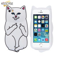 KISSCASE Soft Silicon Cat Case For iPhone 8 7 6 6s Plus 5 5s Cases 3D Cartoon Rubber Middle Finger Cover For iPhone X 10 Coque