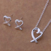 Cross My Heart Silver Necklace and Earrings Set