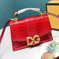D&G Women Shopping Bag Leather Handbag Tote Shoulder Bag Crossbody Satchel Red