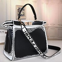 Fendi FF hot sale classic tote bag handbag fashion stitching color ladies one-shoulder messenger bag