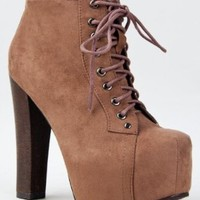 Breckelle's BRITNEY-01 Lace Up Wooden Chunky High Heel Ankel Boot Bootie