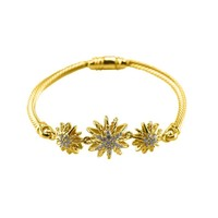 Adesinet Three CZ Sunburst Charm Gold Cable Bracelet