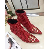 Balenciaga Tide brand pointed double B letter side zip high heel women's ankle boots Martin boots Red
