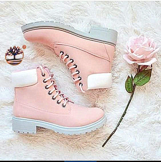 Image of Timberland Rhubarb boots for men and women shoes waterproof Martin boots lovers Pink-white pink soles