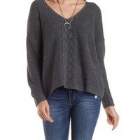 Tulip Back Sweater with Cable Knit Detail