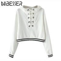 NIBESSER Cropped Hooded Hoodies Women Solid Lace Up Hoodies Sweatshirts Female Autumn Long Sleeve Casual Pullover Hoody Tops