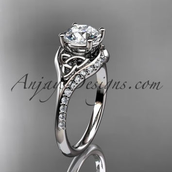 """14kt white gold diamond celtic trinity knot wedding ring, engagement ring with a """"Forever One"""" Moissanite center stone CT7125"""