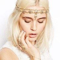 Gold Multi Chain Flower Beads Crown Tikka Head Hair Cuff Headband Punk