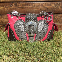 Montana West Pink Wing Buckle Purse
