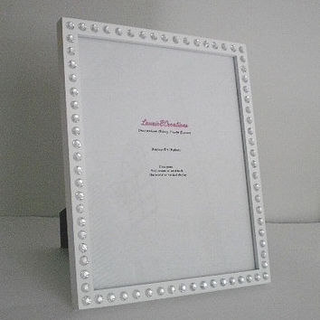WHITE & BLING Picture Frame -White w/ Clear Rhinestones for 8 x 10 Photos or info