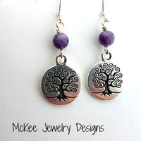 Tree of life sterling silver charms and purple amethyst gemstone earrings.