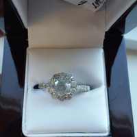 1.40 E I1 Flower Halo Diamond Ring 14K White Gold  Anniversary Solitaire Jewelry + Free Ring Box ! Great Low Price! Mother's Day Special !