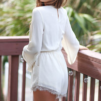 The Scenic Route Beige Surplice Romper With Scalloped Lace Hem