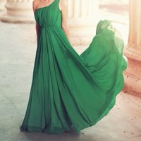 Pretty green chiffon Floor-Length prom dress /bridesmaid dress
