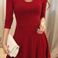 Red 3/4 Sleeve Criss-Cross Mini Dress