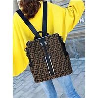 FENDI Classic Popular Women Men F Letter Bookbag Shoulder Bag Handbag Backpack