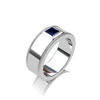 white gold wedding band, blue sapphire, wedding band, mens ring, wide, gold wedding, men sapphire ring, for men