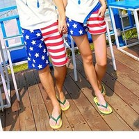 Leisure lovely American flag beach pants,sweetly shorts from shopgirl8
