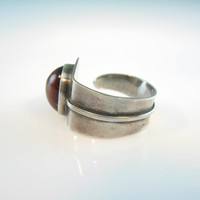 Modernist Ring. Jasper Gemstone Jewelry. Sterling Silver 925 Ring. Open Adjustable Band. Unisex Size 8. Israel Vintage Statement Jewelry
