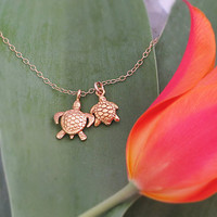 Two Vermeil gold turtle charms on 14 K gold filled necklace