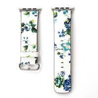 Blue Cabbage Rose Floral Printed Leather Watch Band Strap for Apple