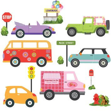 Colorful Girls Adventure Cars Wall Decals, Eco-Friendly Matte Wall Stickers