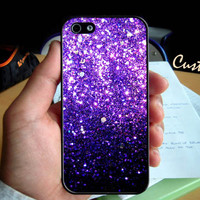 Glitter (Print) Ombre Fade Pattern  - Photo Hard Case design for iPhone 4/4s Case, iPhone 5 Case, Black or White ( Choose Option )