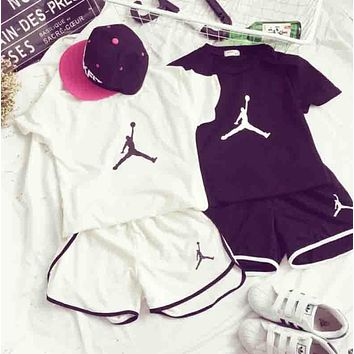 Jordan New summer fashion casual print short sleeve top t-shirt shorts sports two piece suit two color