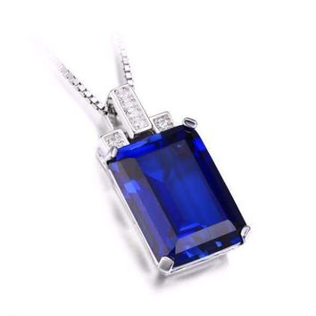 Legacy 9CT Emerald Cut Simulated Russian Sapphire IOBI Precious Gems Pendant
