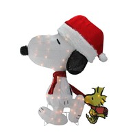 """32"""" Pre-Lit Peanuts Snoopy and Woodstock 2D Christmas Outdoor Decoration"""