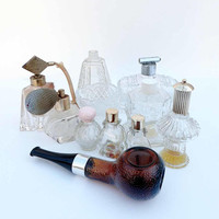 Assorted Lot of Vintage Perfume Dresser Bottles 1950s - 1980s Cut Crystal Pressed Glass Vanity Dish Avon Atomizers Max Factor