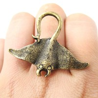 Stingray Adjustable Sea Animal Ring in Brass | Animal Jewelry