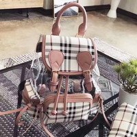 Burberry Shopping Canvas Plaid Backpack Tote Satchel Shoulder Bag B-AGG-CZDL Pink
