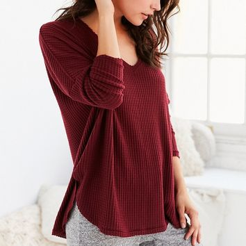 Out From Under Farrah V-Neck Waffle Knit Top