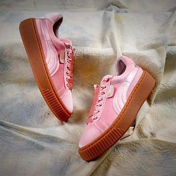 Puma Suede Classic Basket Shoes With Pink Silk Laces
