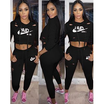 NIKE Tide brand women's classic letter printing personality casual sports suit two-piece Black