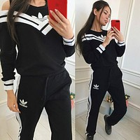 ADIDAS Trending Women Men Sports Top Sweater Pullover Pants Trousers Two Piece Suit Set