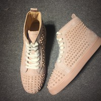 Christian Louboutin Cl Louis Spikes Men's Flat Colombe/colombe Mat Leather 09w Shoes 1101083f179